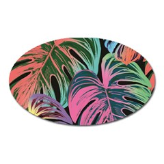 Leaves Tropical Jungle Pattern Oval Magnet