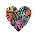 Leaves Tropical Jungle Pattern Heart Magnet Front