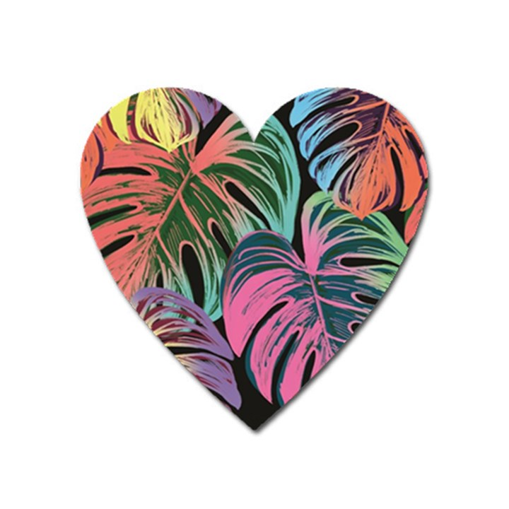 Leaves Tropical Jungle Pattern Heart Magnet