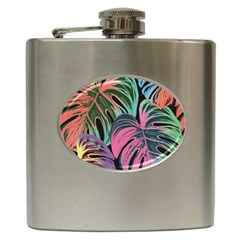Leaves Tropical Jungle Pattern Hip Flask (6 Oz) by Nexatart
