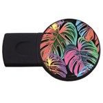 Leaves Tropical Jungle Pattern USB Flash Drive Round (2 GB) Front