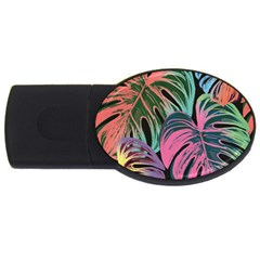 Leaves Tropical Jungle Pattern Usb Flash Drive Oval (2 Gb) by Nexatart