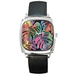 Leaves Tropical Jungle Pattern Square Metal Watch Front
