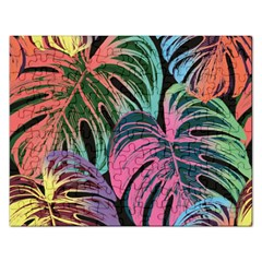Leaves Tropical Jungle Pattern Rectangular Jigsaw Puzzl