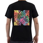 Leaves Tropical Jungle Pattern Men s T-Shirt (Black) (Two Sided) Back