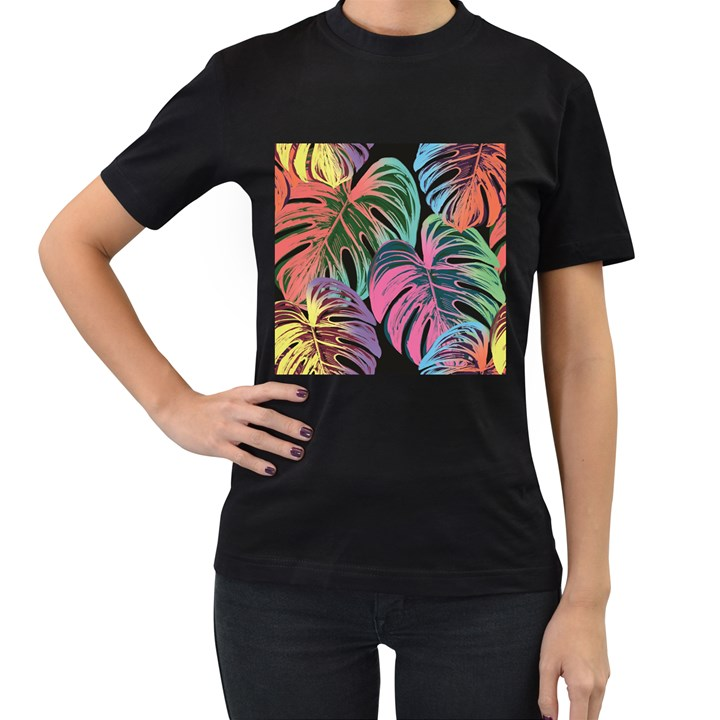 Leaves Tropical Jungle Pattern Women s T-Shirt (Black) (Two Sided)