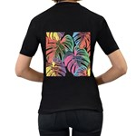Leaves Tropical Jungle Pattern Women s T-Shirt (Black) (Two Sided) Back