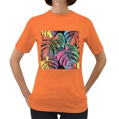 Leaves Tropical Jungle Pattern Women s Dark T Shirt