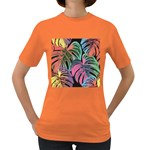 Leaves Tropical Jungle Pattern Women s Dark T-Shirt Front