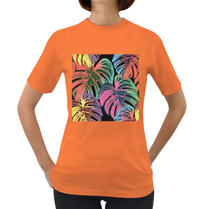 Leaves Tropical Jungle Pattern Women s Dark T-Shirt