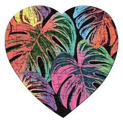Leaves Tropical Jungle Pattern Jigsaw Puzzle (heart)