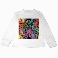 Leaves Tropical Jungle Pattern Kids Long Sleeve T Shirts
