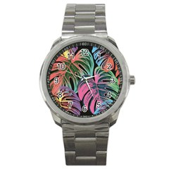 Leaves Tropical Jungle Pattern Sport Metal Watch