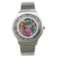 Leaves Tropical Jungle Pattern Stainless Steel Watch