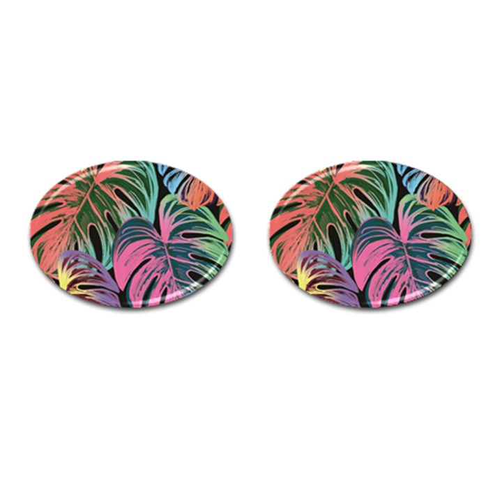 Leaves Tropical Jungle Pattern Cufflinks (Oval)