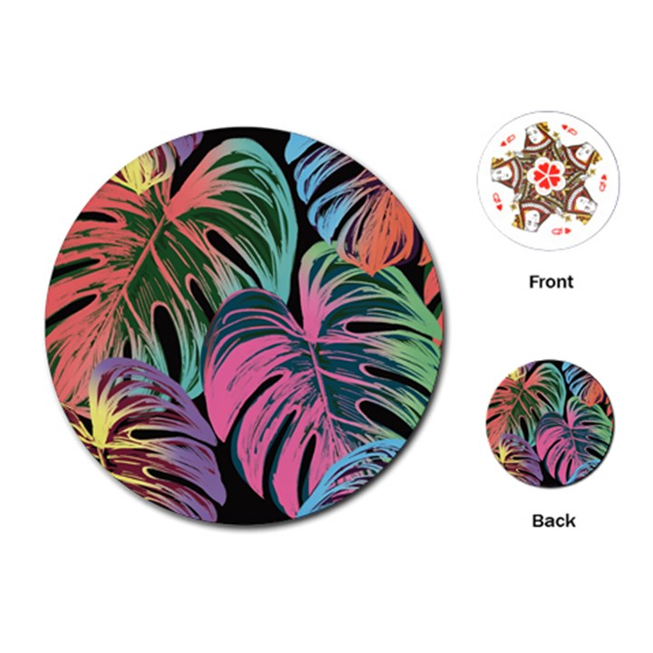 Leaves Tropical Jungle Pattern Playing Cards (Round)