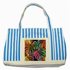 Leaves Tropical Jungle Pattern Striped Blue Tote Bag