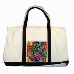 Leaves Tropical Jungle Pattern Two Tone Tote Bag