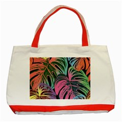 Leaves Tropical Jungle Pattern Classic Tote Bag (red)