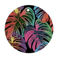 Leaves Tropical Jungle Pattern Round Ornament (two Sides)