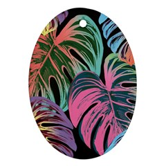 Leaves Tropical Jungle Pattern Oval Ornament (two Sides)