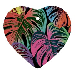 Leaves Tropical Jungle Pattern Heart Ornament (two Sides)