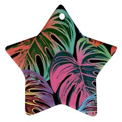 Leaves Tropical Jungle Pattern Star Ornament (two Sides)