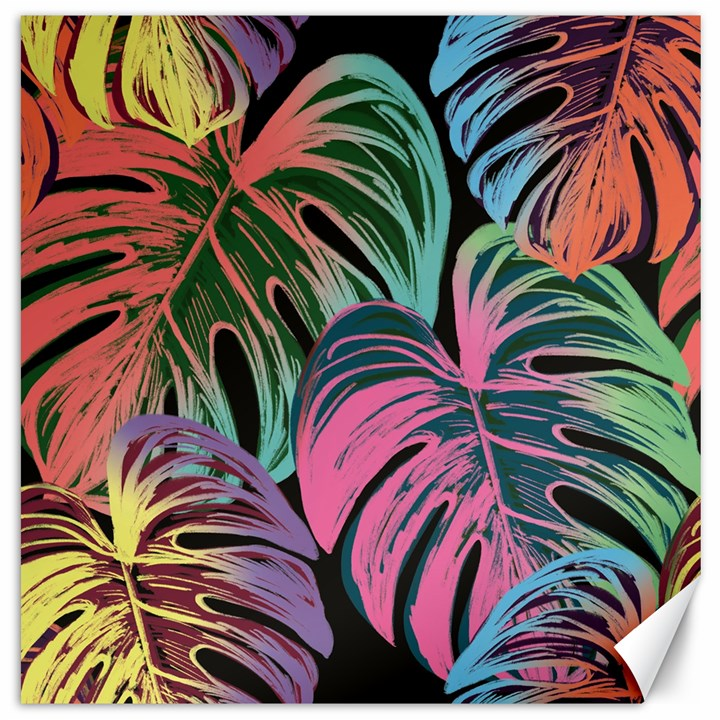 Leaves Tropical Jungle Pattern Canvas 12  x 12