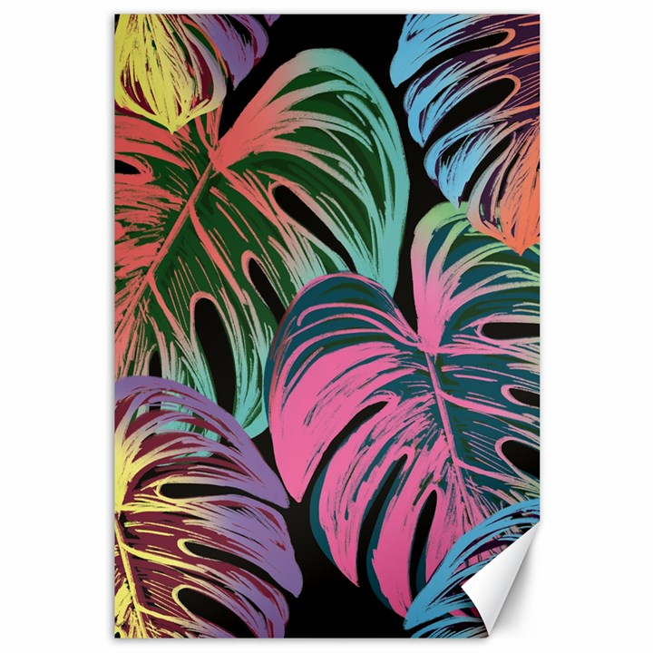 Leaves Tropical Jungle Pattern Canvas 12  x 18