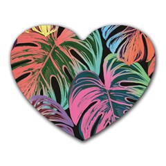 Leaves Tropical Jungle Pattern Heart Mousepads