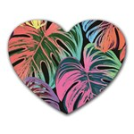 Leaves Tropical Jungle Pattern Heart Mousepads Front