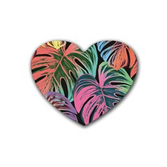 Leaves Tropical Jungle Pattern Heart Coaster (4 Pack)  by Nexatart