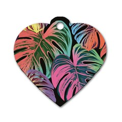 Leaves Tropical Jungle Pattern Dog Tag Heart (two Sides)