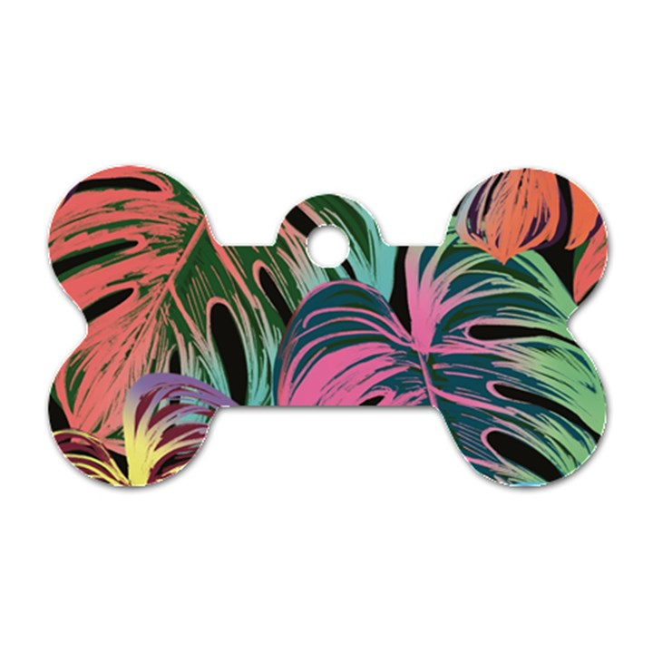 Leaves Tropical Jungle Pattern Dog Tag Bone (Two Sides)