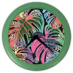 Leaves Tropical Jungle Pattern Color Wall Clock