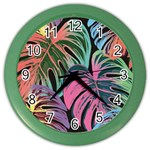 Leaves Tropical Jungle Pattern Color Wall Clock Front
