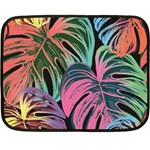 Leaves Tropical Jungle Pattern Fleece Blanket (Mini) 35 x27 Blanket