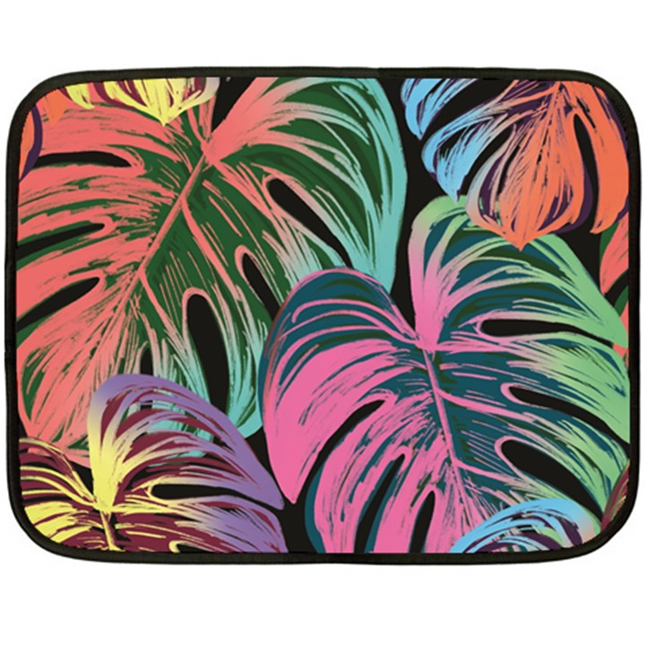 Leaves Tropical Jungle Pattern Fleece Blanket (Mini)