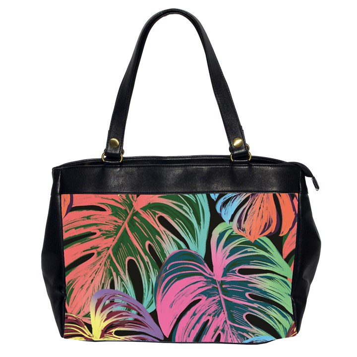 Leaves Tropical Jungle Pattern Oversize Office Handbag (2 Sides)