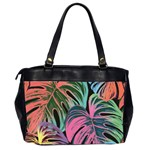 Leaves Tropical Jungle Pattern Oversize Office Handbag (2 Sides) Back