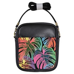 Leaves Tropical Jungle Pattern Girls Sling Bag