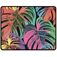 Leaves Tropical Jungle Pattern Fleece Blanket (medium)