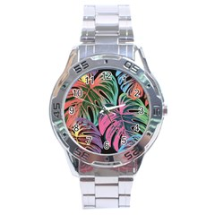 Leaves Tropical Jungle Pattern Stainless Steel Analogue Watch