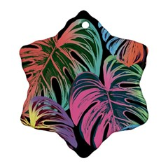 Leaves Tropical Jungle Pattern Snowflake Ornament (two Sides)