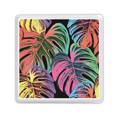 Leaves Tropical Jungle Pattern Memory Card Reader (square) by Nexatart