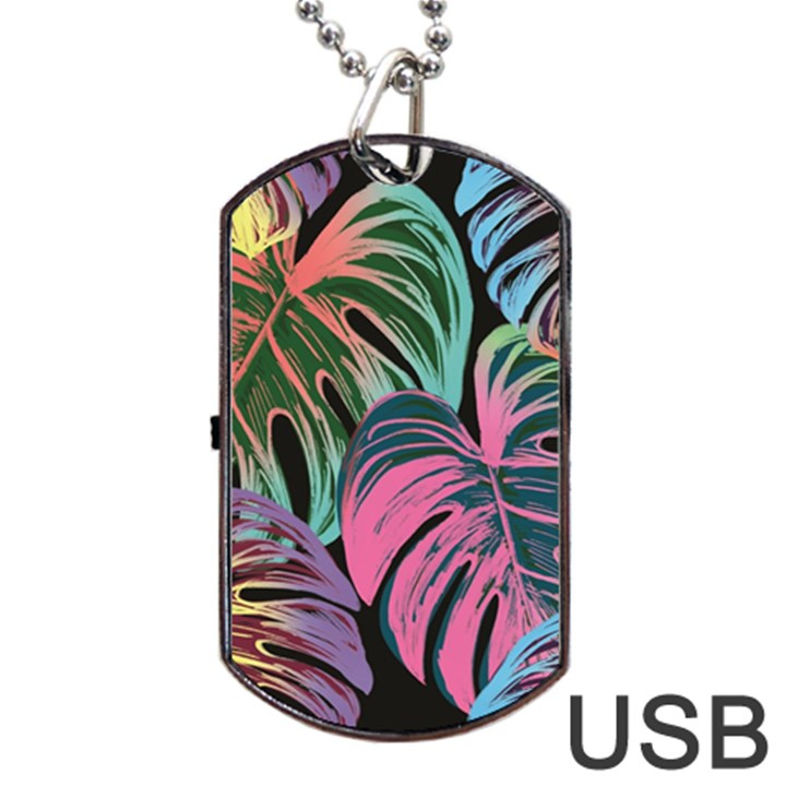 Leaves Tropical Jungle Pattern Dog Tag USB Flash (Two Sides)