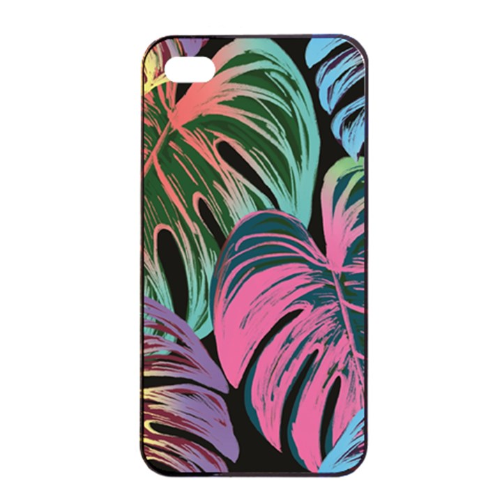 Leaves Tropical Jungle Pattern Apple iPhone 4/4s Seamless Case (Black)