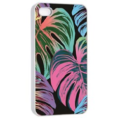 Leaves Tropical Jungle Pattern Apple Iphone 4/4s Seamless Case (white)