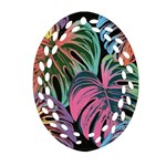 Leaves Tropical Jungle Pattern Ornament (Oval Filigree) Front