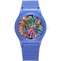 Leaves Tropical Jungle Pattern Round Plastic Sport Watch (s)